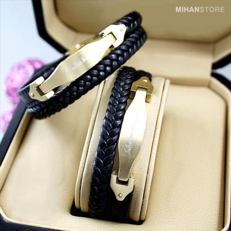 دستبند چرم طرح لاکچری