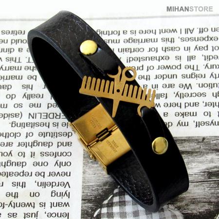 دستبند چرم طرح شانه و قیچی