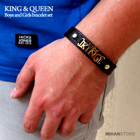 دستبند چرم طرح King و Queen