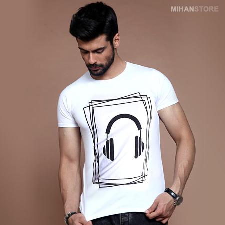 تی شرت مردانه طرح هدفون (سفید)